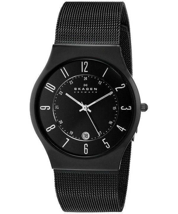 Skagen Black Dial Titanium Case Mesh Bracelet 233XLTMB Mens Watch