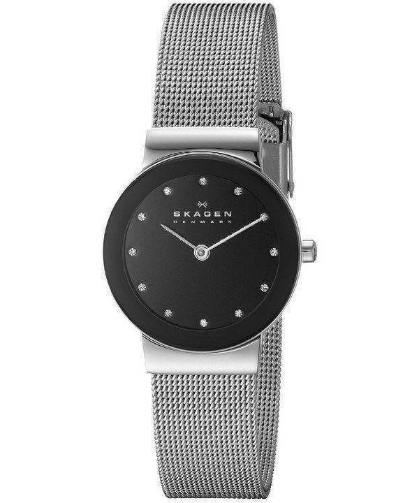 Skagen Freja Black Dial Swarovski Stainless Steel Mesh Bracelet 358SSSBD Womens Watch