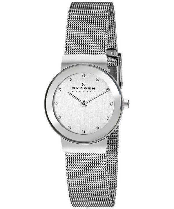 Skagen Classic Swarovski crystal Chrome Dial Mesh Bracelet 358SSSD Womens Watch