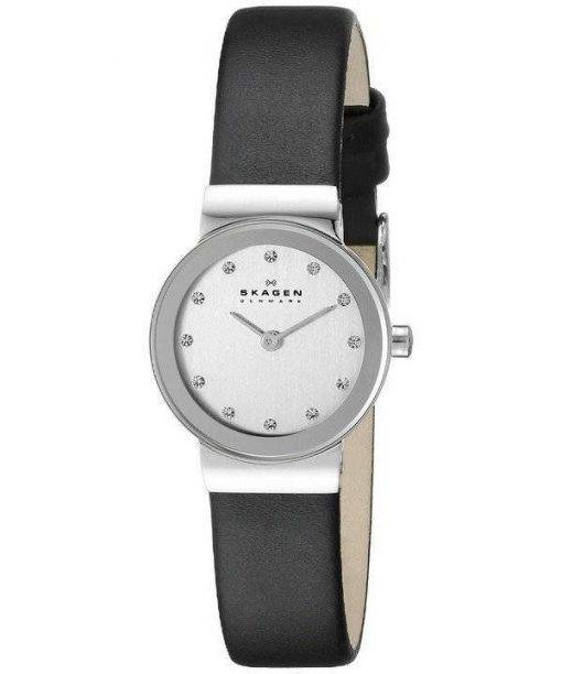 Skagen Freja Chrome Dial Swarovski Crystal Black Leather Strap 358XSSLBC Womens Watch