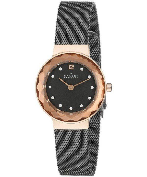 Skagen Leonora Black Mother of Pearl Dial Charcoal IP 456SRM Womens Watch