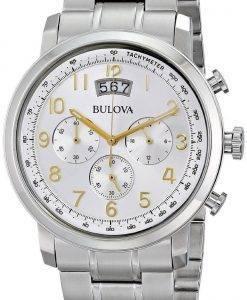 Montre Bulova chronographe cadran argenté 96B201 masculin