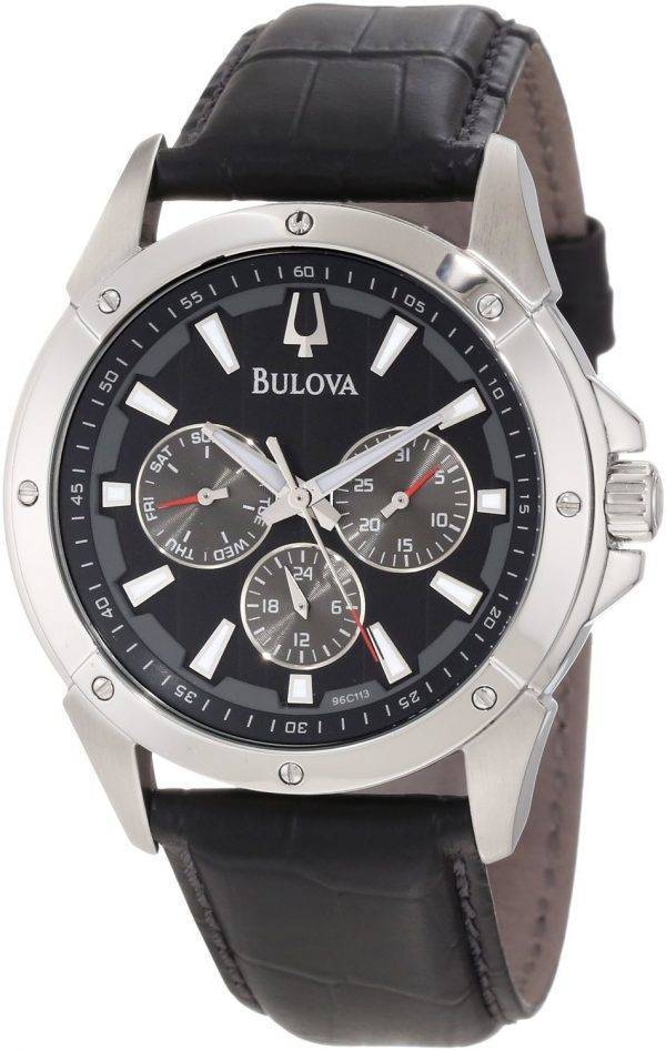 Bulova Black Leather Strap 96C113 Mens Watch