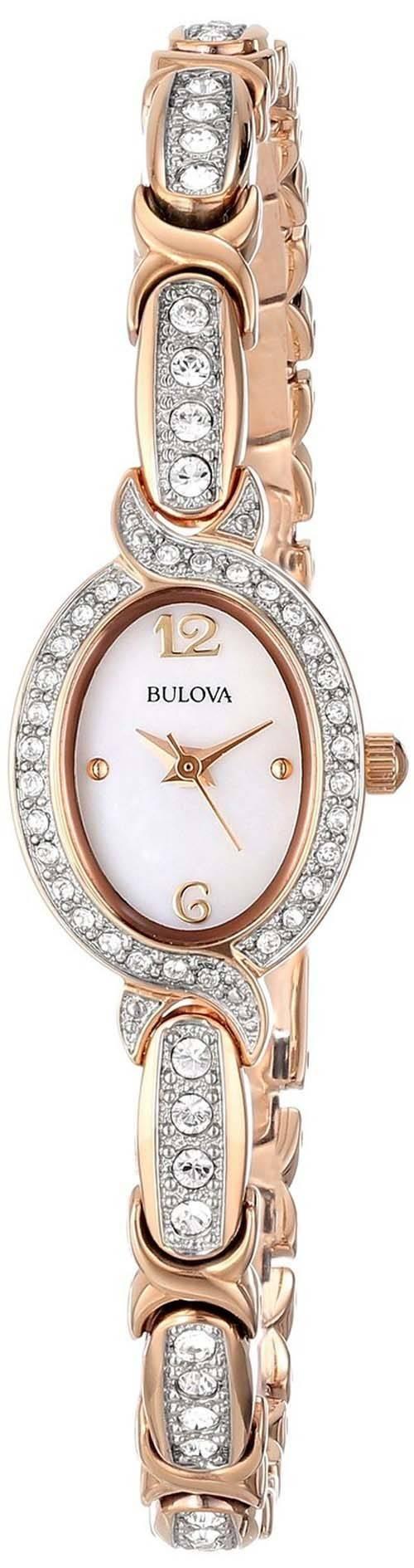 Bulova Stainless Steel Swarovski Crystal 98L200 Womens Watch