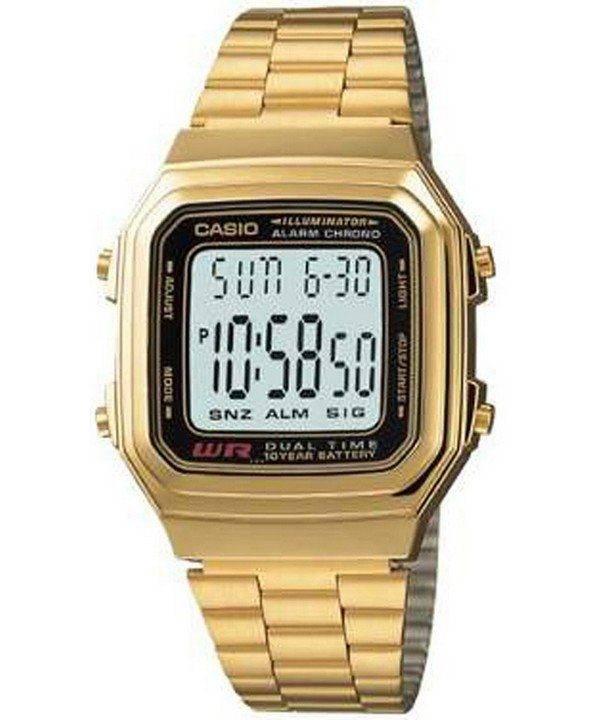 Casio Digital inox alarme Chrono Dual Time A178WGA-1ADF A178WGA-1 a montre homme