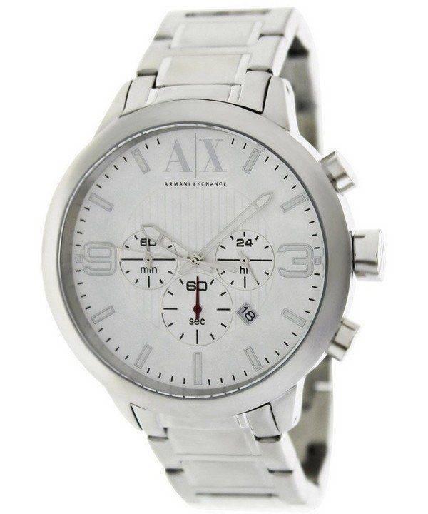 Armani Exchange chronographe cadran argenté AX1278 montre homme