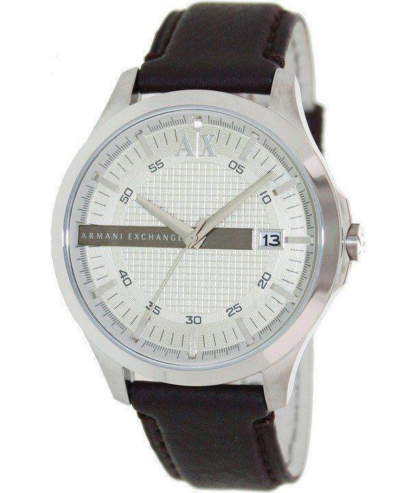Armani Exchange Silver Dial Leather Strap AX2100 Mens Watch