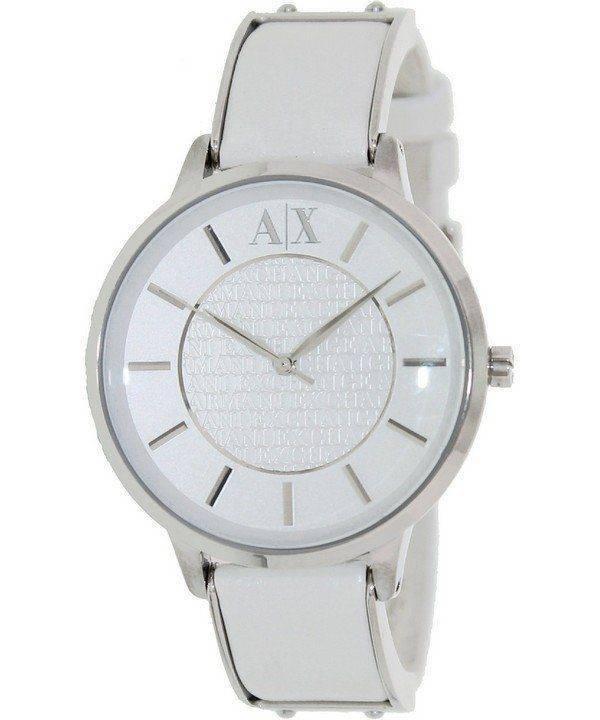 Armani Exchange White Dial White Leather AX5300 Ladies Watch