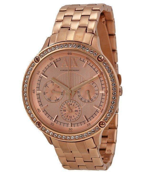 Armani Exchange Or Rose cadran cristaux AX5406 Ladies Watch