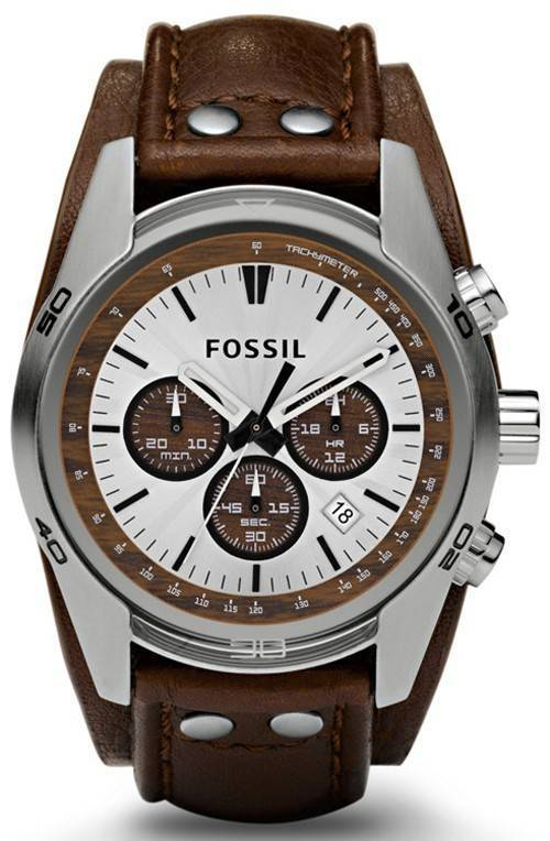 Fossil Cuff Chronograph Tan Leather CH2565 Mens Watch