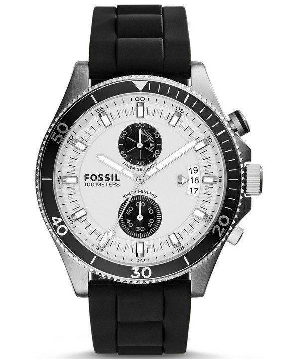 Wakefield fossile Chronograph Silicone Noir sangle CH2933 montre homme