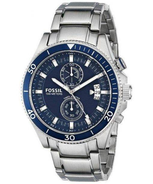 Fossil Wakefield Chronograph Blue Dial Stainless Steel CH2937 Mens Watch