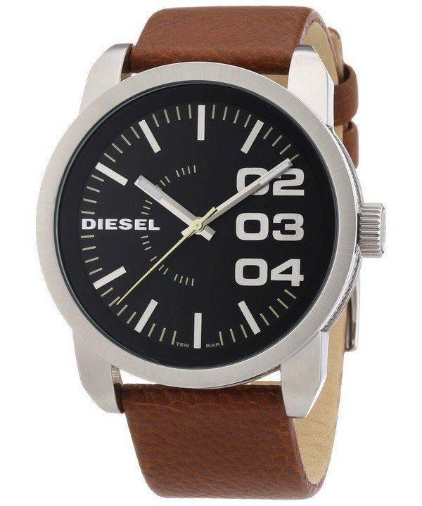 Diesel Black Dial Tan Leather DZ1513 Mens Watch