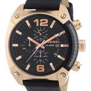 Diesel Overflow Chronograph Black Dial Black Leather DZ4297 Mens Watch