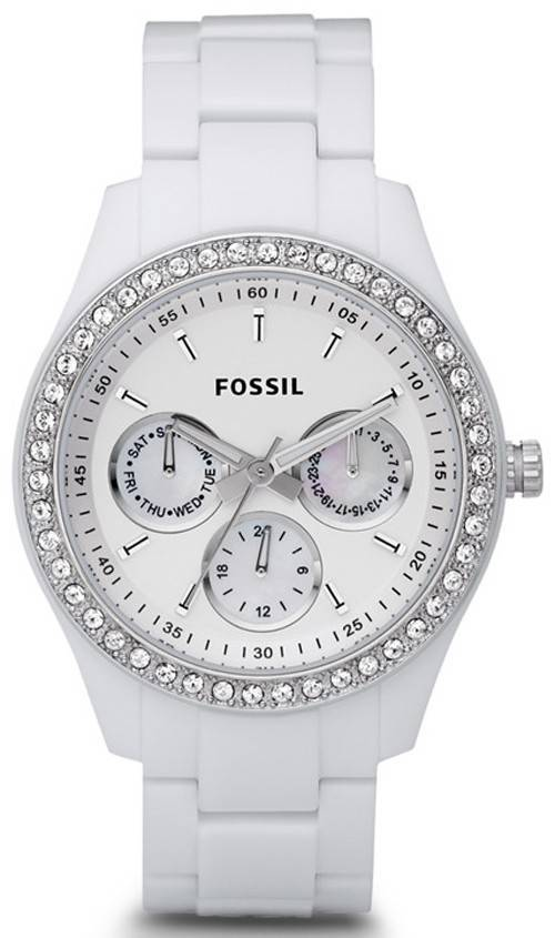 Fossil Stella White Dial Crystal ES1967 Womens Watch