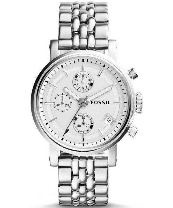 Fossil Boyfriend Chronograph Silver Tone Dial ES2198 Womens Watch