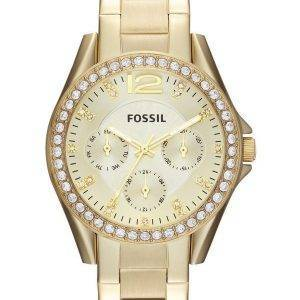 Fossile Riley Gold Tone multifonction Crystal ES3203 Women Watch Dial