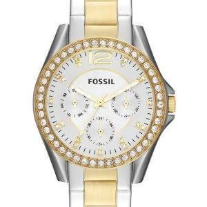 Or et argent multifonction Riley fossile ton cristal ES3204 Women Watch Dial