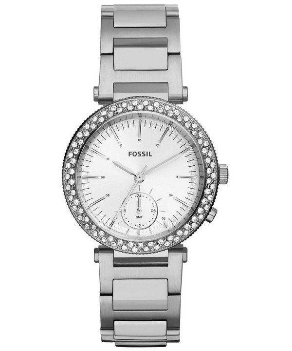 Fossil Urban Traveler Multifunction Silver Dial Crystals Embellished ES3849 Womens Watch