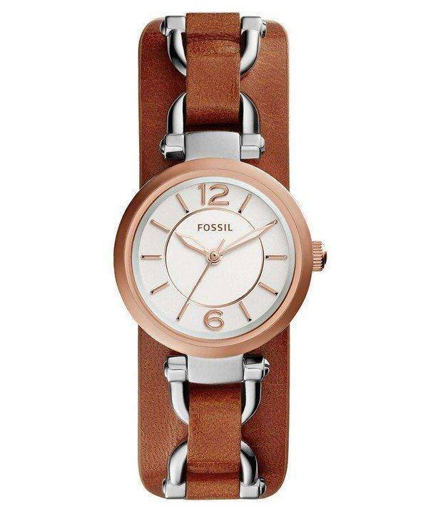 Fossil Georgia Artisan White Dial Brown Leather ES3855 Womens Watch