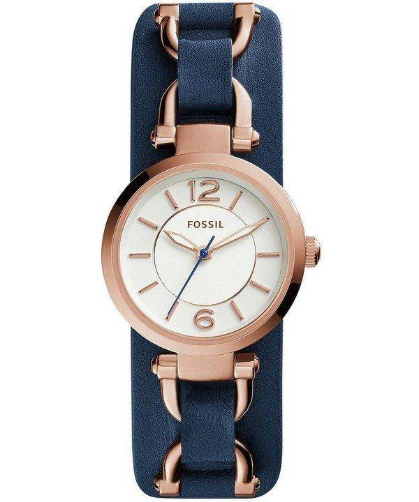 Fossil Georgia Artisan White Dial Navy Blue Leather ES3857 Womens Watch