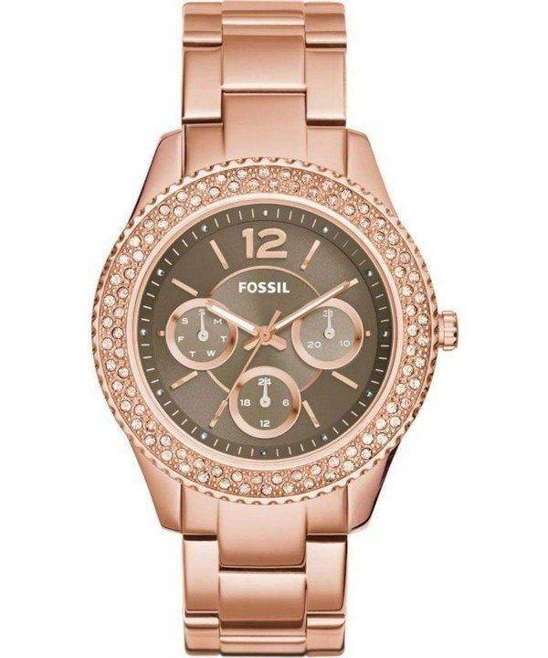 Fossil Stella Taupe Dial Crystals Multifunction Rose Gold-Tone ES3863 Womens Watch