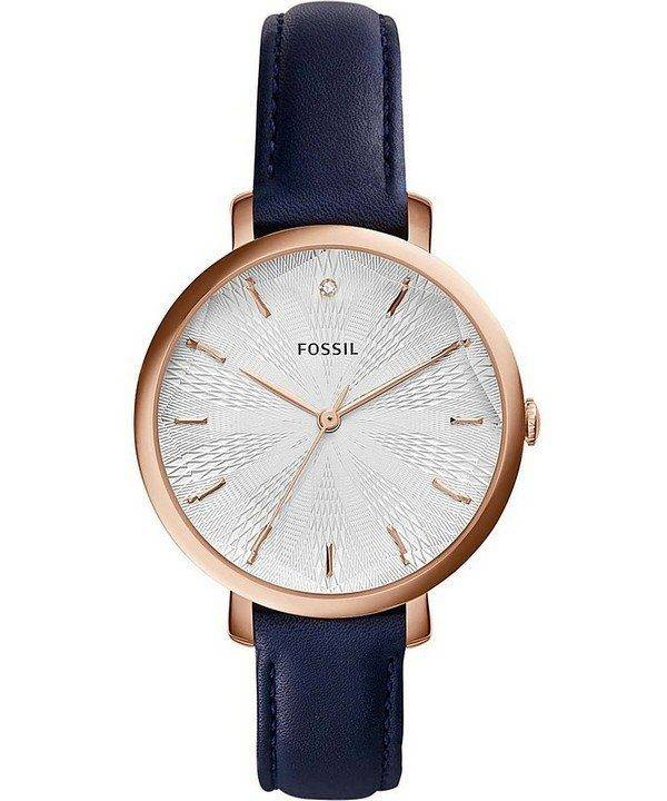 Fossil Incandesa Navy Blue Leather Strap Diamond Accent ES3864 Womens Watch