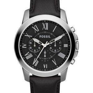 Accorder des fossiles montre chronographe en cuir noir sangle FS4812 masculin