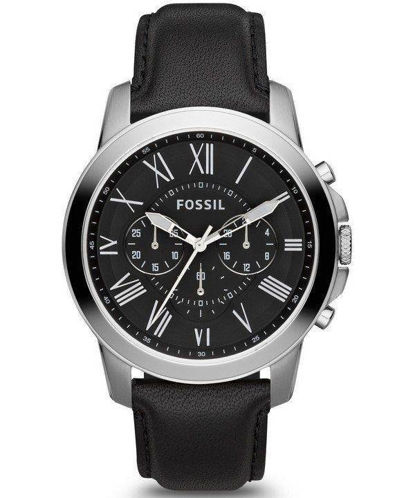 Accorder des fossiles montre chronographe en cuir noir sangle FS4812 masculin