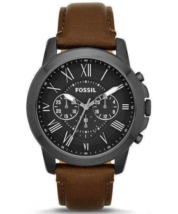 Fossil Grant Chronograph Brown Leather Strap FS4885 Mens Watch
