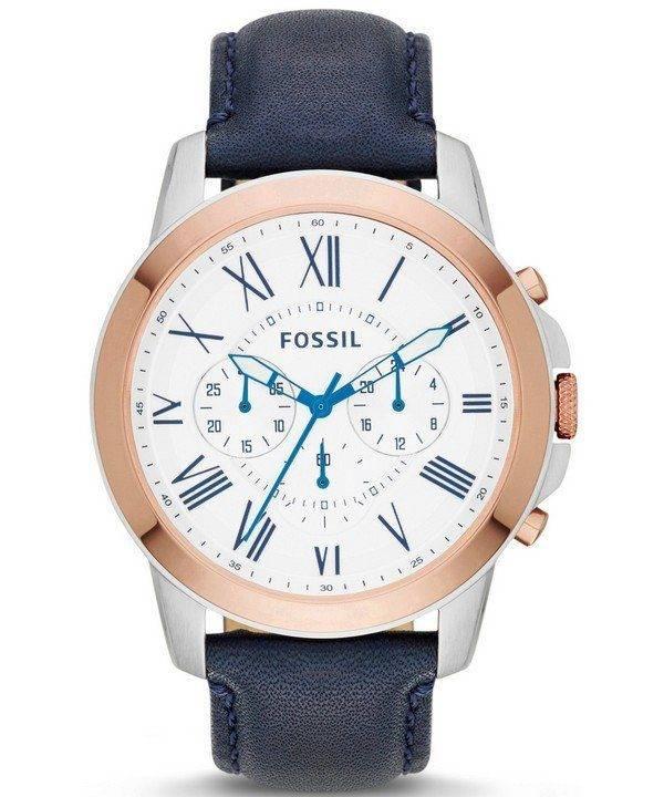 Accorder des fossiles montre chronographe en cuir bleu marine FS4930 masculin