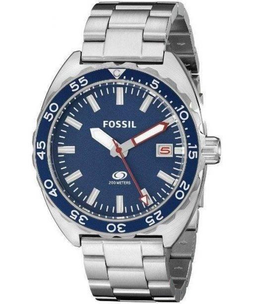 Fossil Breaker Quartz Blue Dial Stainless Steel FS5048 Mens Watch