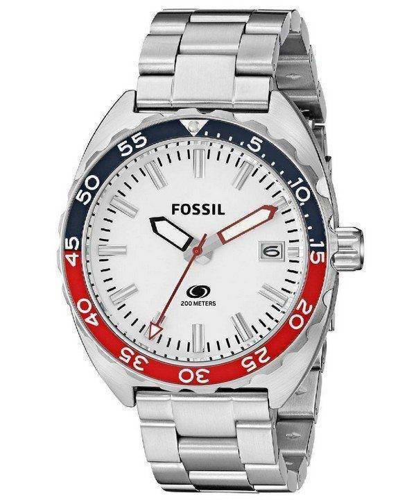 Fossil Quartz Breaker White Dial Stainless Steel FS5049 Mens Watch