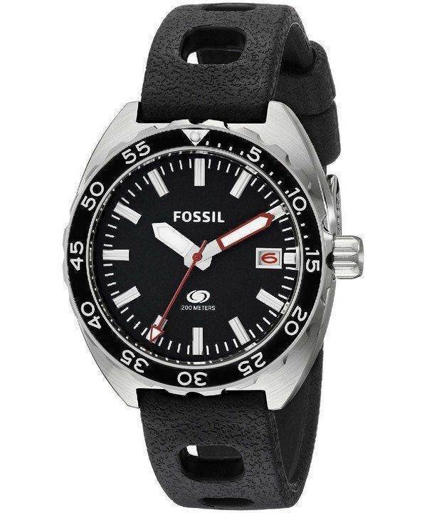 Fossil Quartz Breaker Black Dial Black Silicone FS5053 Mens Watch