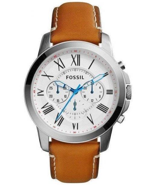 Fossil Grant Quartz Chronograph White Dial Tan Leather FS5060 Mens Watch