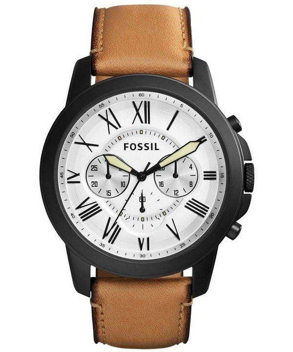 Fossil Grant White Dial Chronograph Brown Leather FS5087 Mens Watch