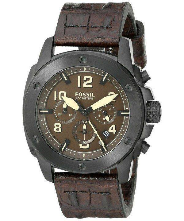 Fossil Modern Machine Chronograph Brown Dial Brown Leather FS5095 Mens Watch