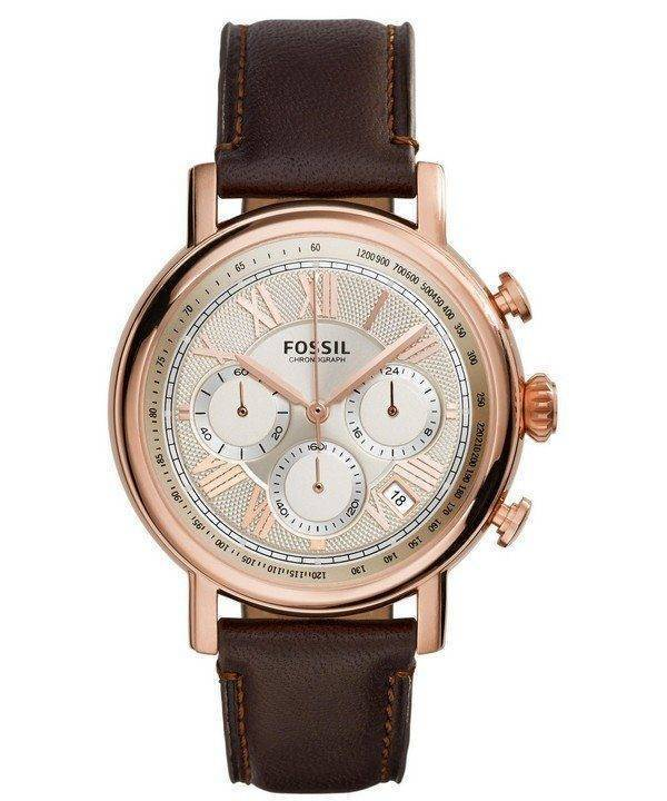 Fossil Buchanan Chronograph Champagne Dial Brown Leather FS5103 Mens Watch