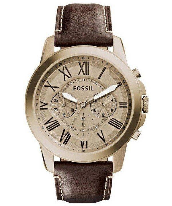 Fossil Grant Chronograph Gold-Tone Dial Brown Leather FS5107 Mens Watch