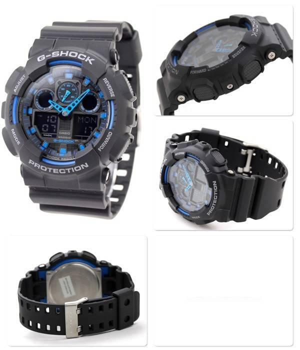 Casio G-Shock World Time Watch GA-100 d'alarme GA-100-1 a 2