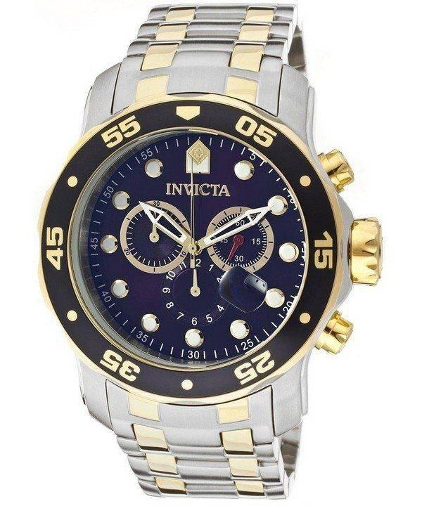Montre Invicta Pro Diver chronographe cadran bleu INV0077/0077 masculine