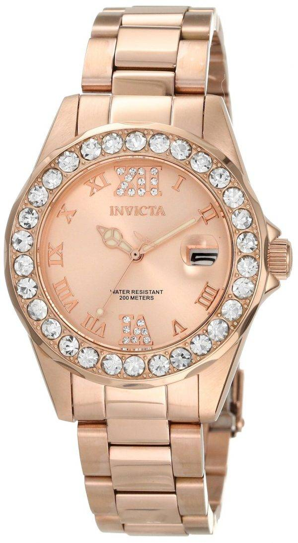 Invicta Pro Diver Rose or acier inoxydable 15253 Women Watch Dial