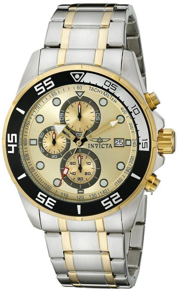 Montre Invicta spécialité chronographe cadran en or deux tons inox 17014 hommes