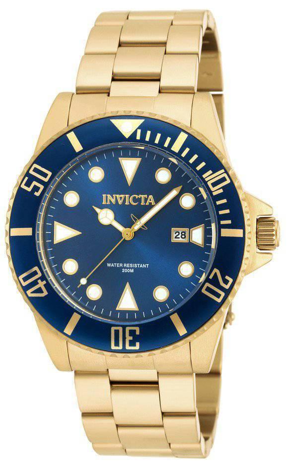 Montre Invicta Pro Diver Quartz couleur or 200M 90196 masculin