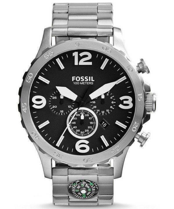 Fossiles montre chronographe Nate hommes cadran noir JR1490