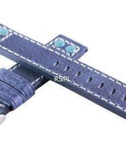 Bracelet de cuir de marque Ratio bleu 20mm pour SKX007 SKX009, SKX011, SRP497, SRP641