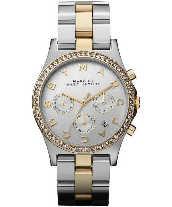 Marc By Marc Jacobs Henry chronographe cristaux cadran argenté MBM3197 Women Watch