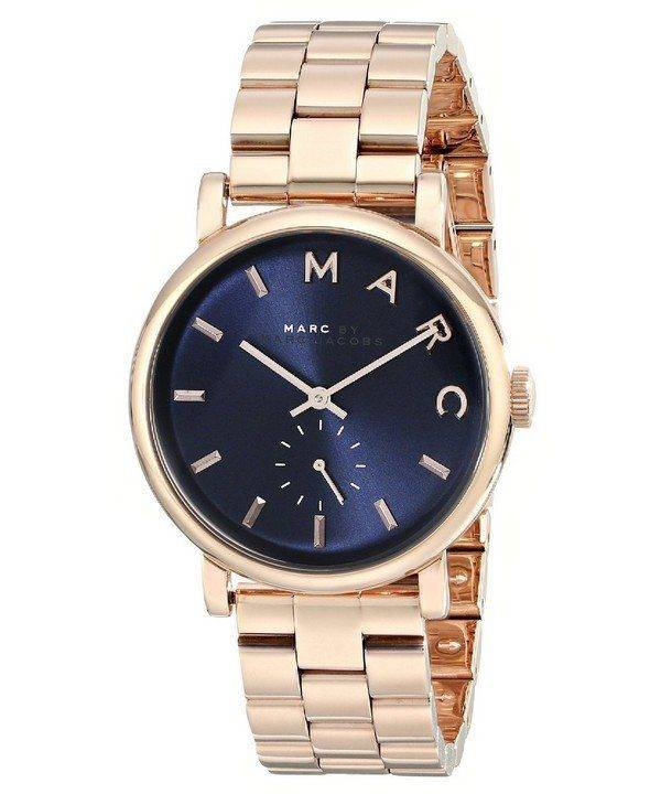 Marc By Marc Jacobs Baker Navy Dial Rose Gold-tone Steel MBM3330 Womens Watch