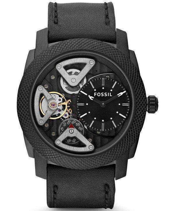 Fossil Mechanical Twist Black Leather ME1121 Mens Watch