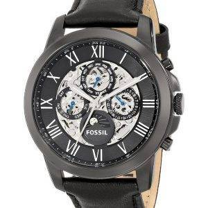 Fossil Grant Automatic Black Skeleton Dial Black Leather ME3028 Mens Watch